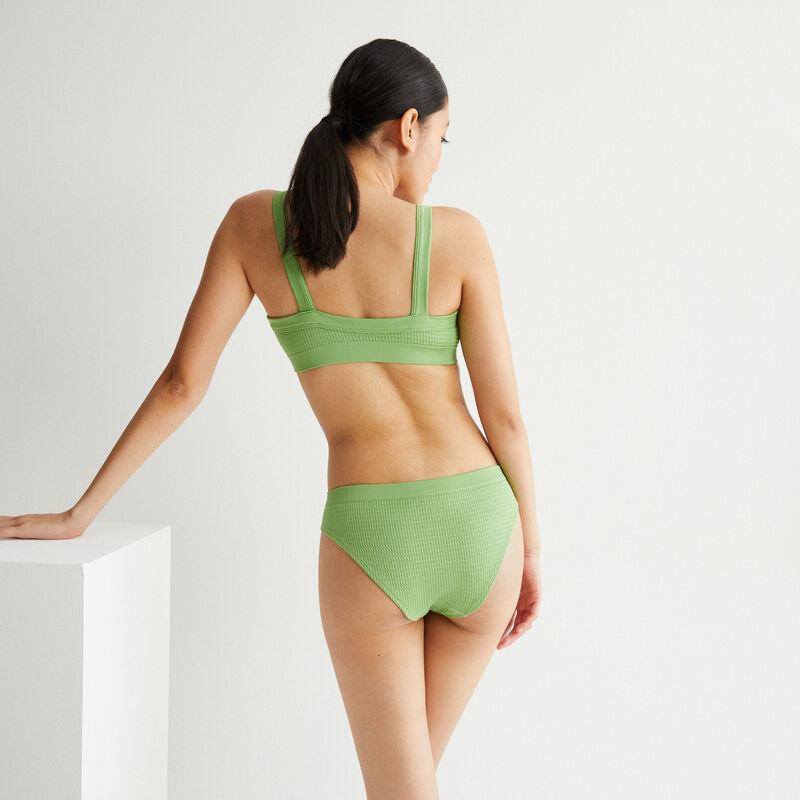 sujetador efecto gofrado con detalle de bisutería - verde;