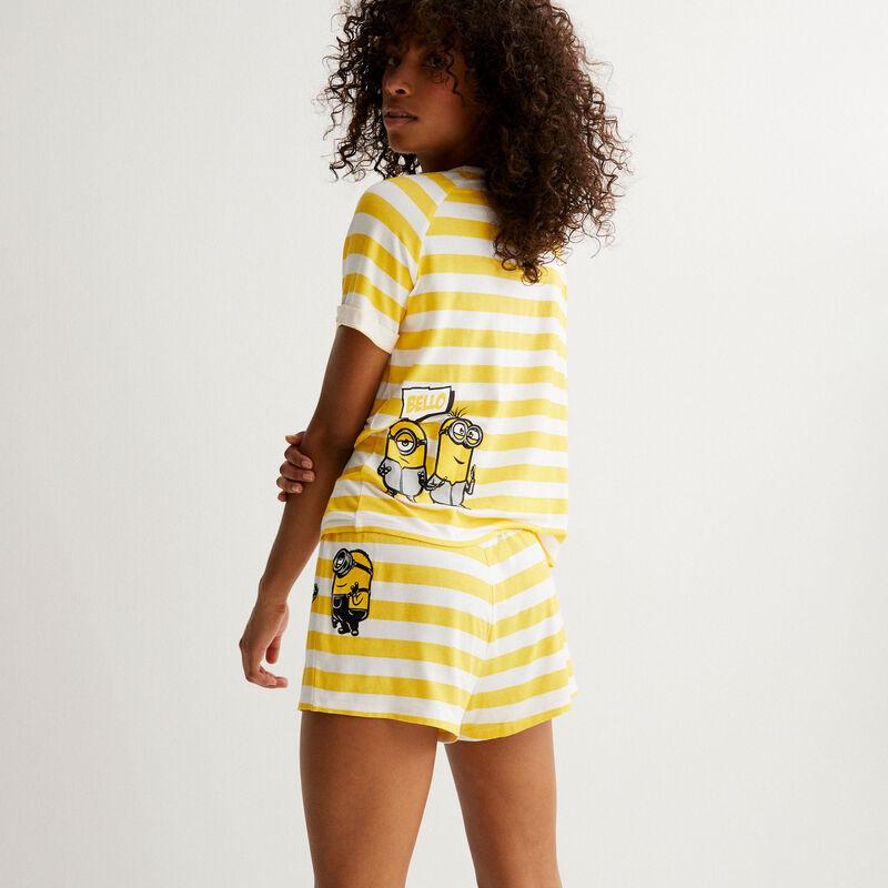 shorts a rayas Los Minions - amarillo;