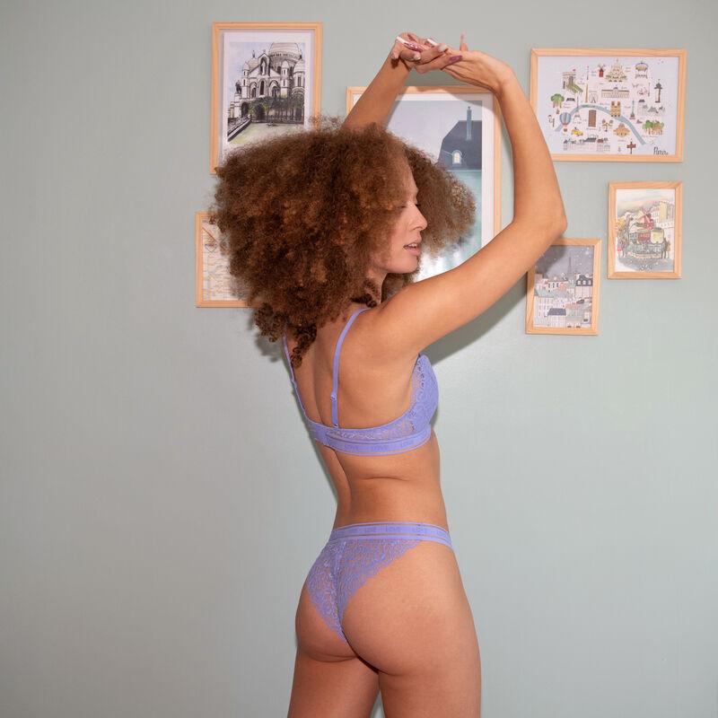 Braguita tanga de encaje con detalle de cinta elástica - azul cielo;