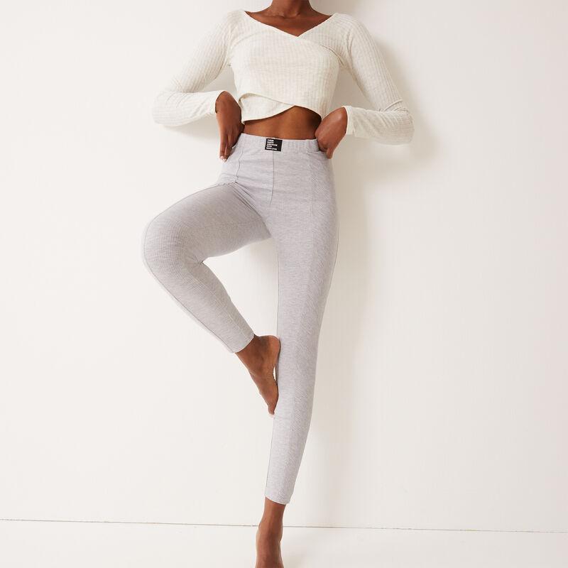Leggings cómodos con mensaje 100 % love - gris claro;