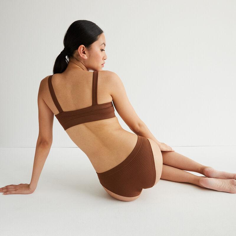 sujetador efecto gofrado con detalle de bisutería - marrón;