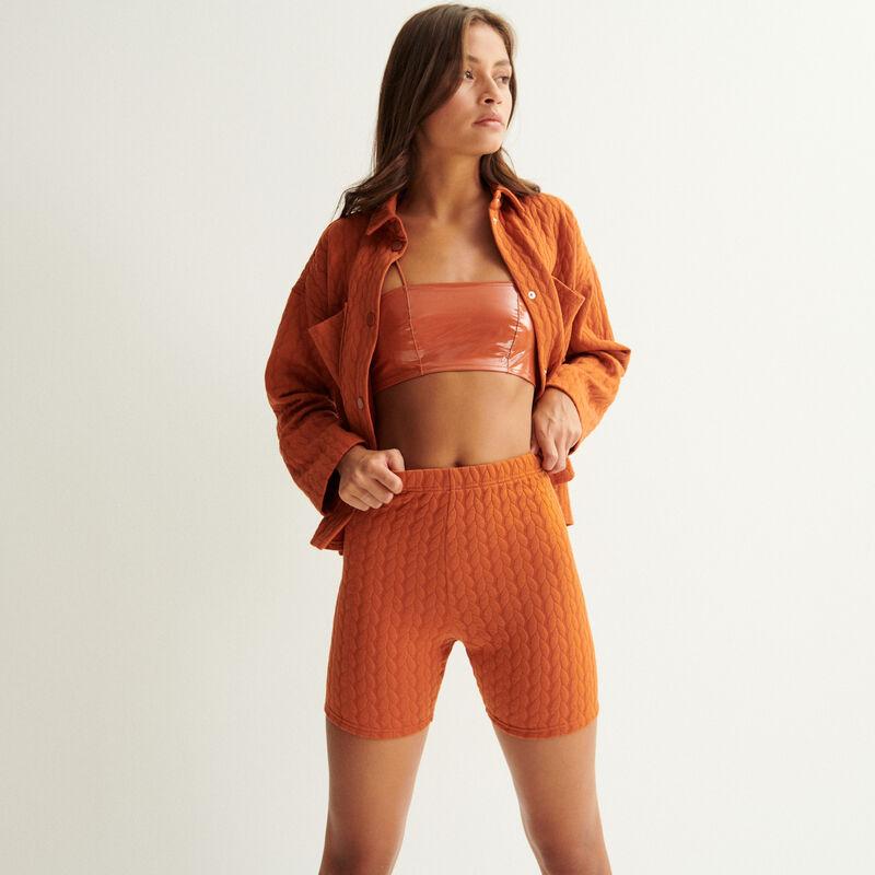 pantalón ciclista con relieves trenzados - marrón;