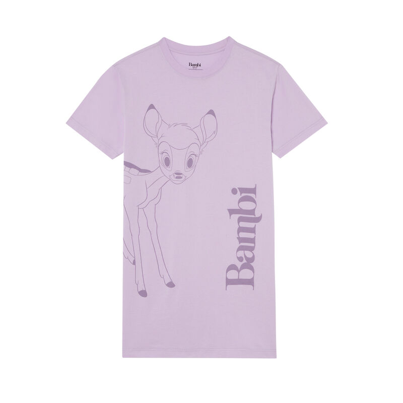 camiseta larga con estampado de Bambi - lila;