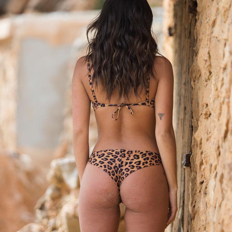 parte de arriba de bikini bandeau con estampado de leopardo - marrón ;