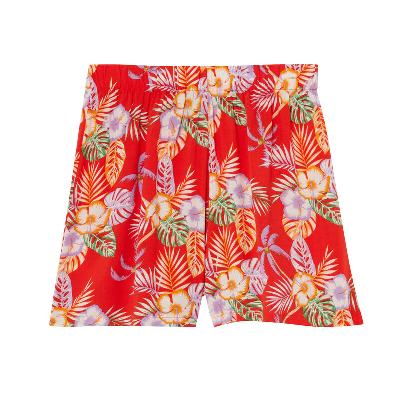 Shorts de satén con motivos de flores tropicales - rojo;