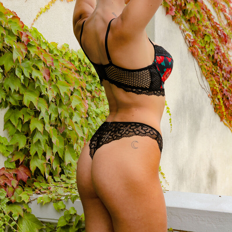 Braguita brasileña con estampado de flores - negra;