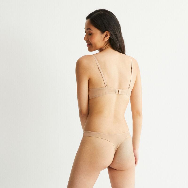 Braguita tanga de encaje con detalle de nudo - beige;