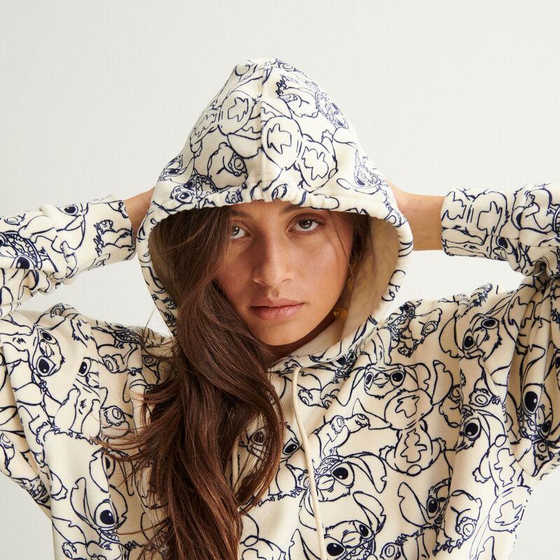 Sudadera con capucha y estampados stitch - blanco roto;