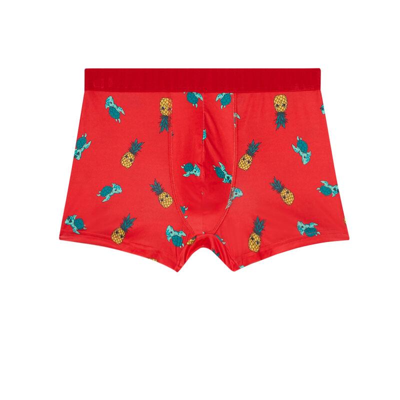 Bóxer con motivos de piña y tortuga - rojo;
