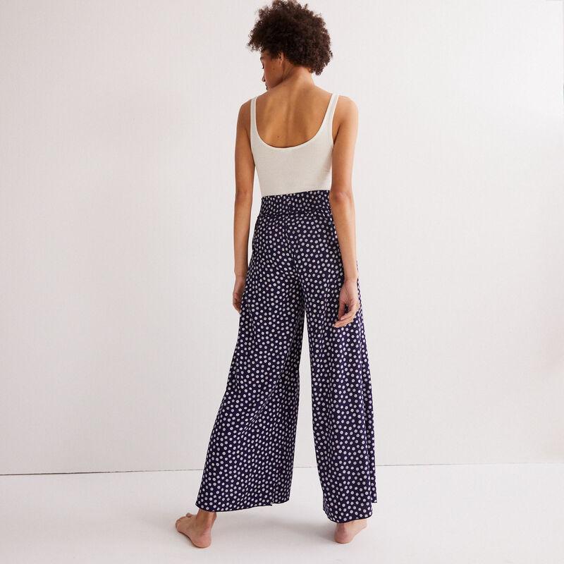 pantalón con estampado de margaritas - azul;