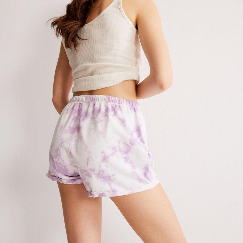 shorts efecto tie and dye con detalle de cordón - lila;