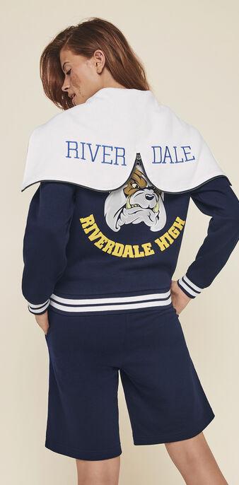 Chaqueta bómbers con capucha y licencia riverdale riverdaliz azul marino.