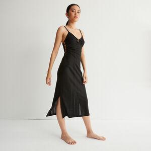 vestido largo calado y con escote con anillas - negro
