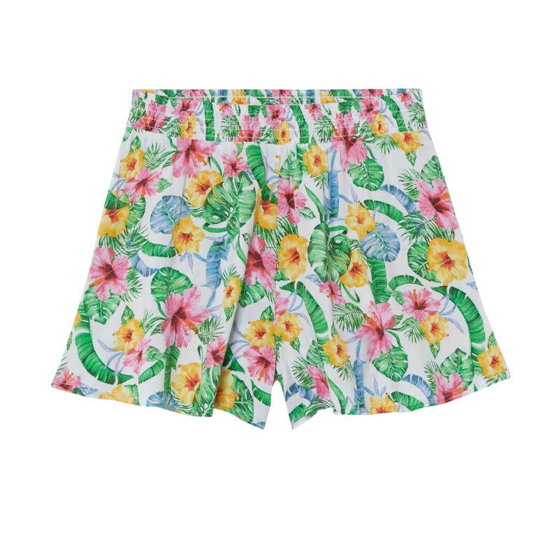 Shorts fluidos con fruncido en la cintura y estampado de flores - crudo;
