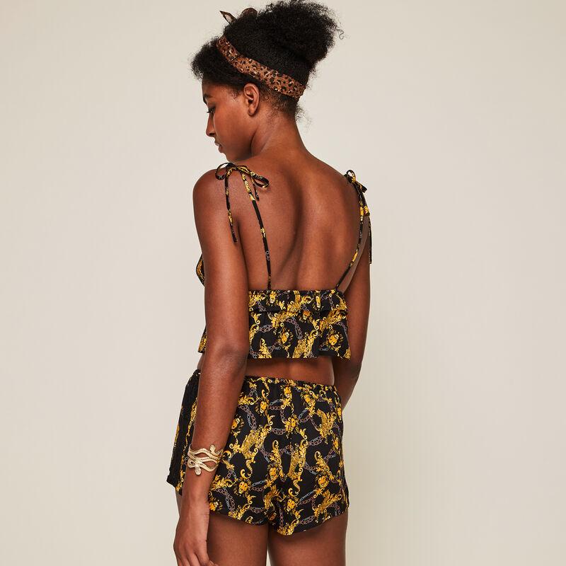 Shorts de satén con estampado jimaprintiz;