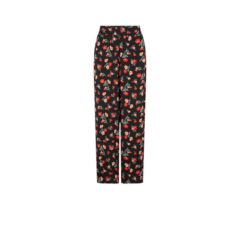 Pantalón satinado con estampado de flores - negro;