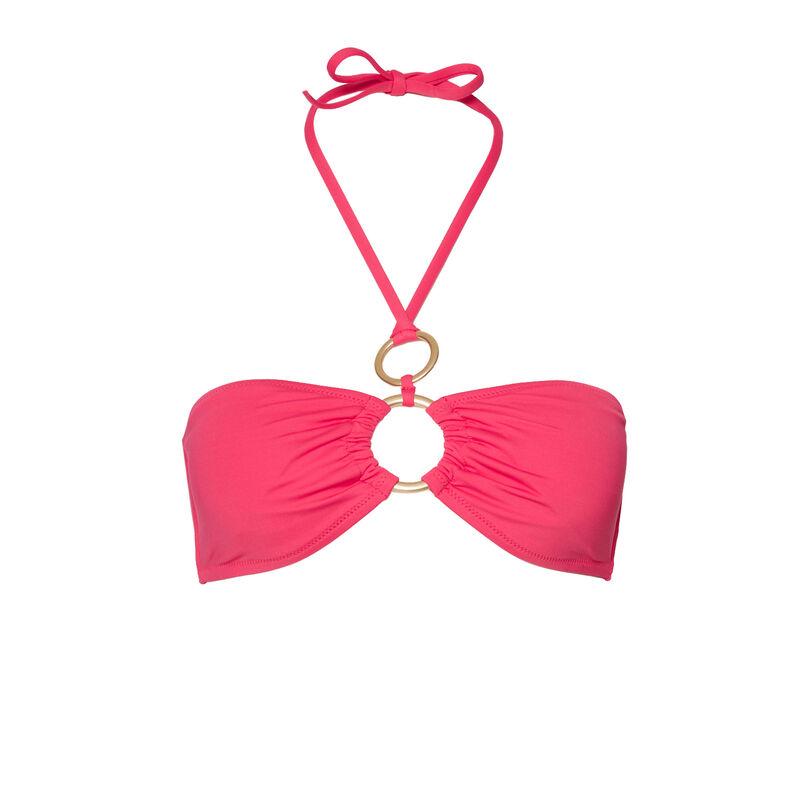 Parte de arriba de bikini bandeau con detalles de anillas - rosa;