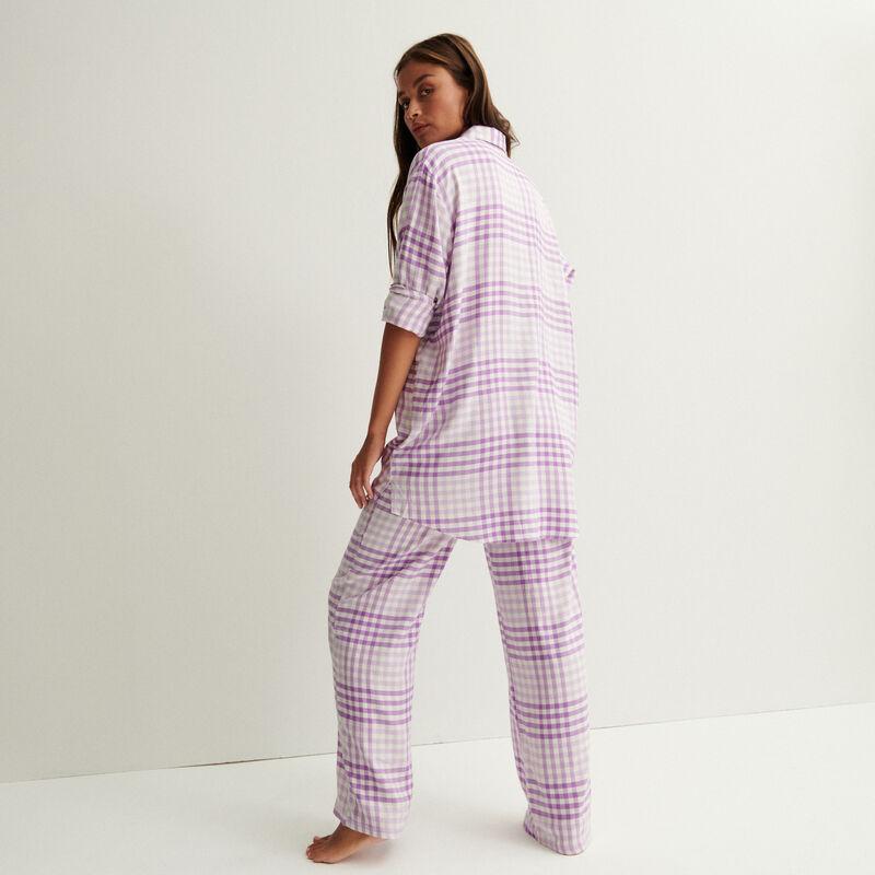 pantalón de cuadros de cintura ancha fruncida y anudada - morado;
