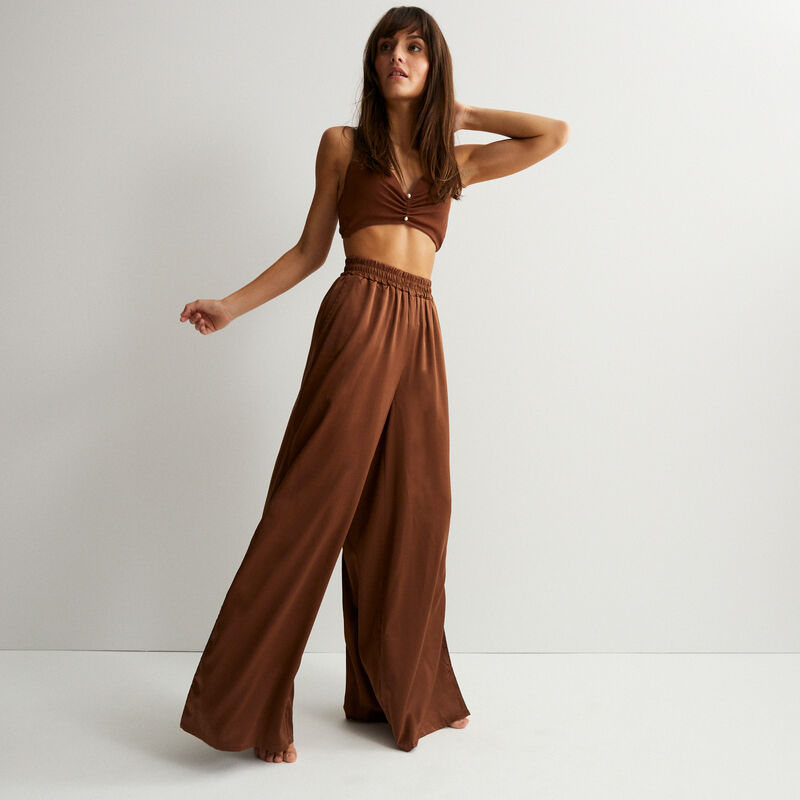 pantalón de satén cintura alta - marrón;