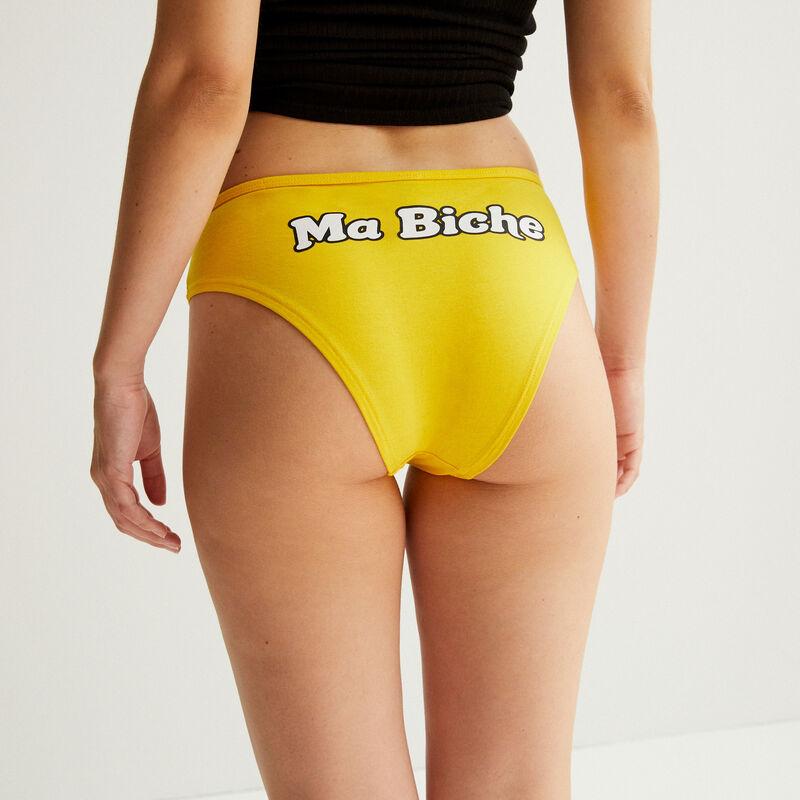 """Braguita culotte con mensaje """"ma biche"""" - amarillo;"""