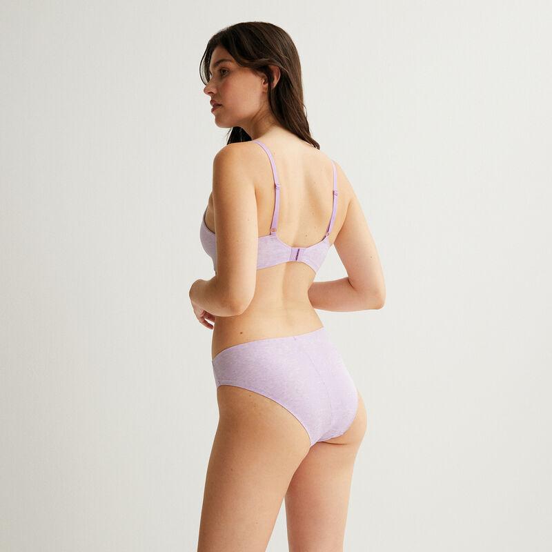 cheeky bikini de algodón liso - lila;