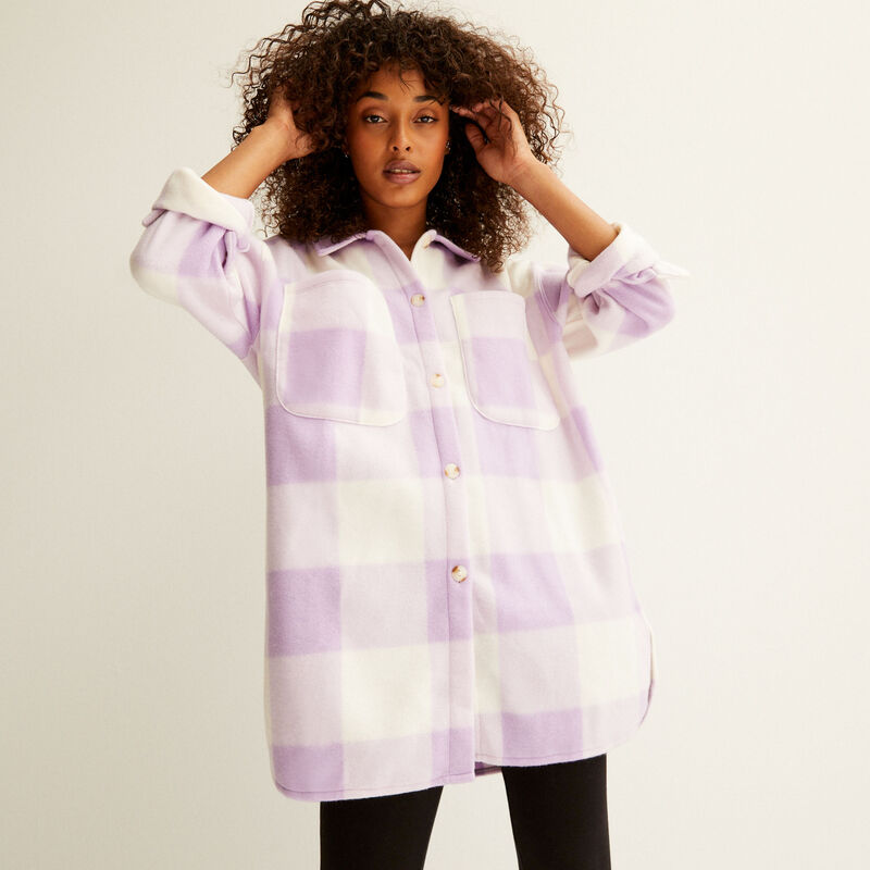 camisa de fibra polar a cuadros - violeta;