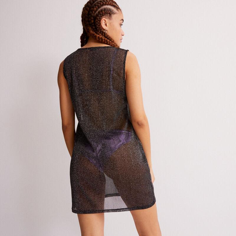 vestido transparente efecto metalizado - negro;