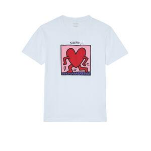 top con estampado de corazones Keith Haring - blanco