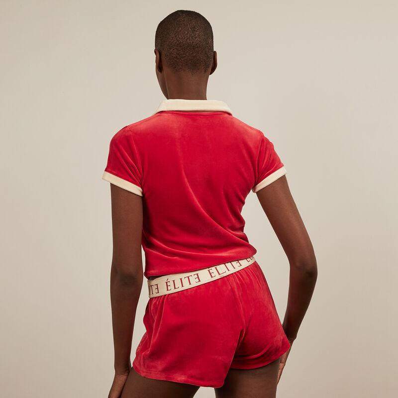 Shorts de terciopelo Elite - rojo;