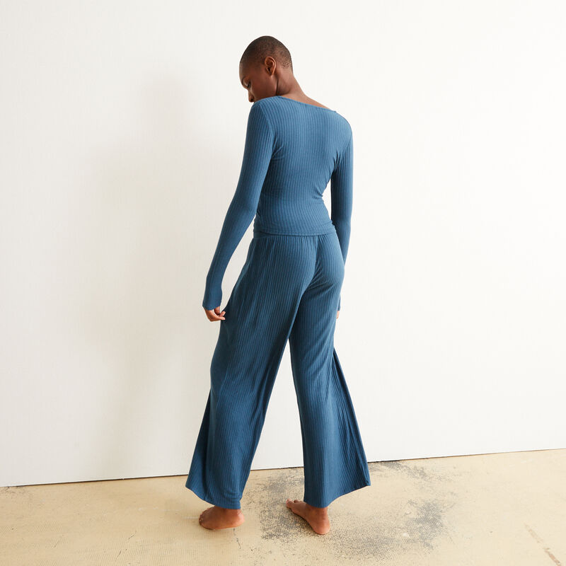 pantalón ancho con cordón para atar - azul;