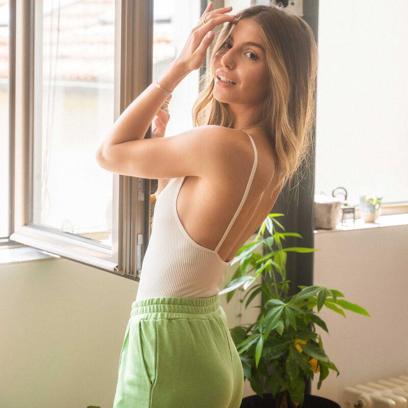 body de talle alto con escote y espalda abierta - crudo;