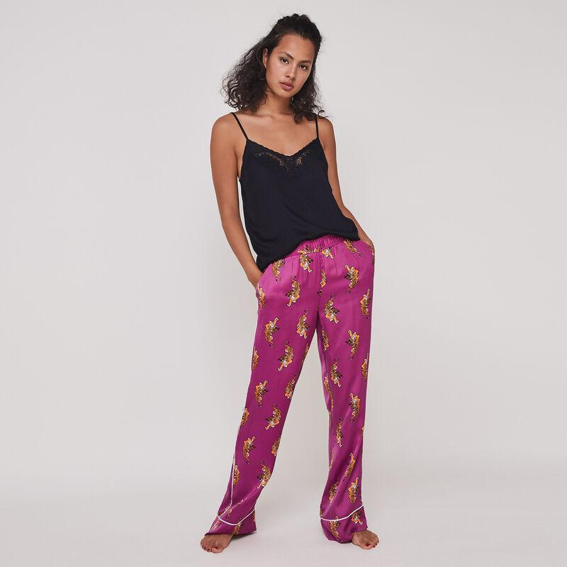 pantalón satinado con estampado de tigre tunichiniz;