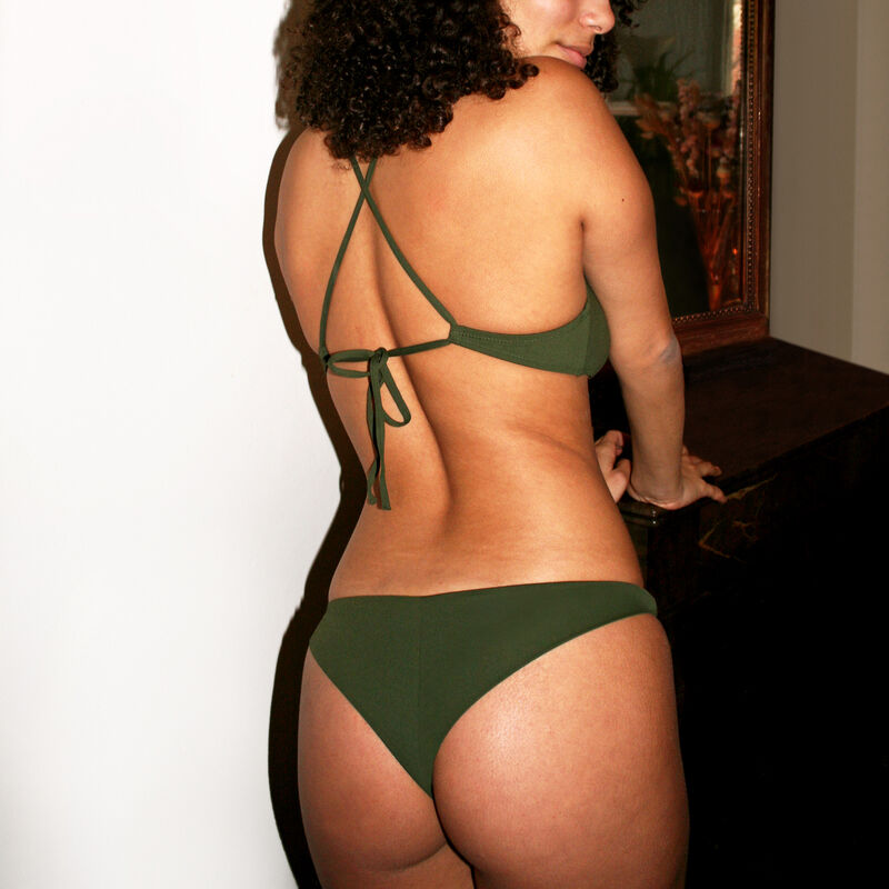 Parte de abajo de bikini braguita brasileña lisa - caqui;