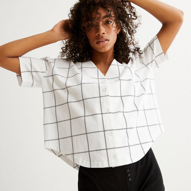 top crop camisa a cuadros - blanco;