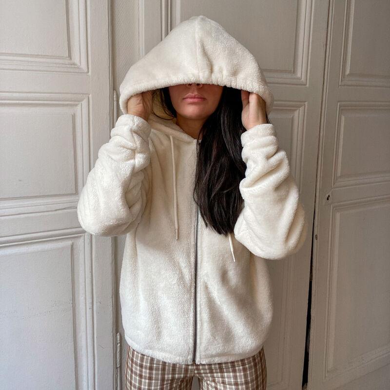 chaqueta de fibra polar con cremallera de anillo y capucha - crema;