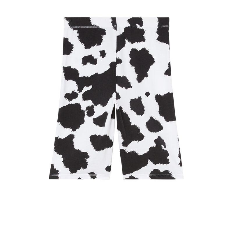 pantalón ciclista con estampado de vaca - crudo;
