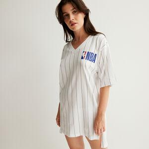 camiseta larga de cuello de pico equipo nba - blanc