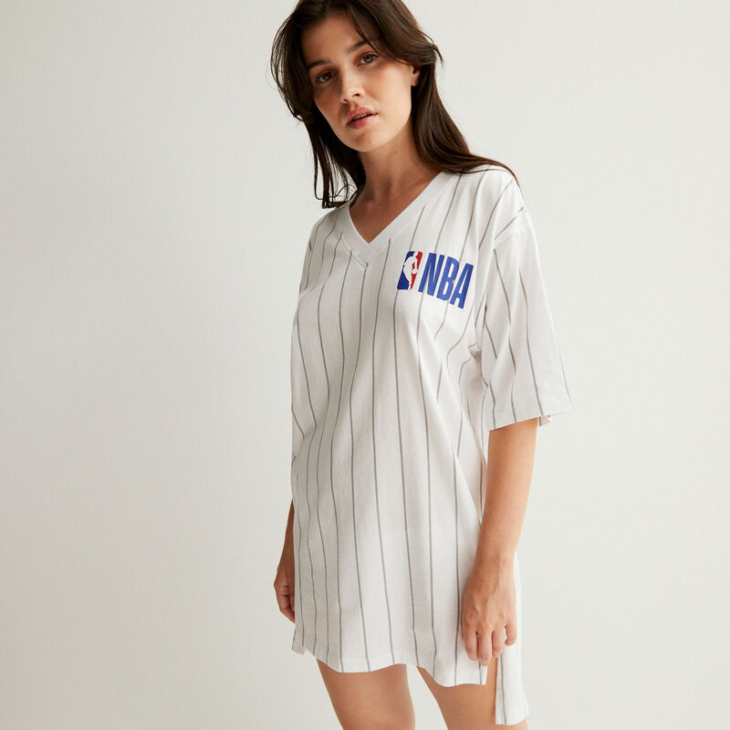 camiseta larga de cuello de pico equipo nba - blanc;