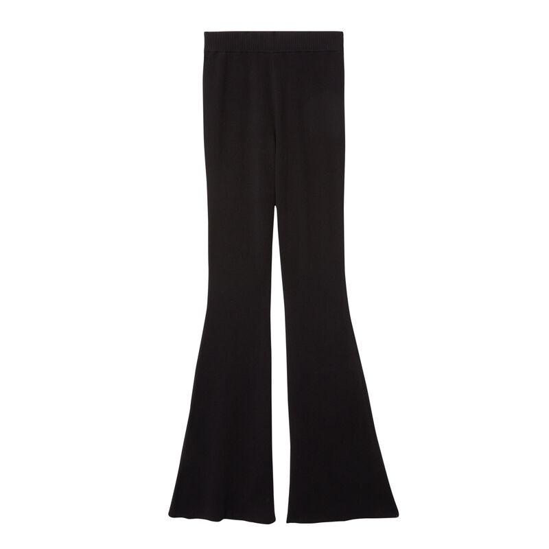 pantalón de punto acampanado - negro;