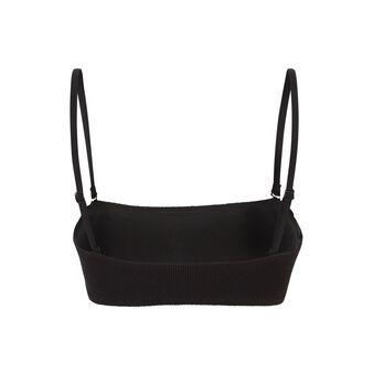 Top de bikini bandeau negro gaufriz black.