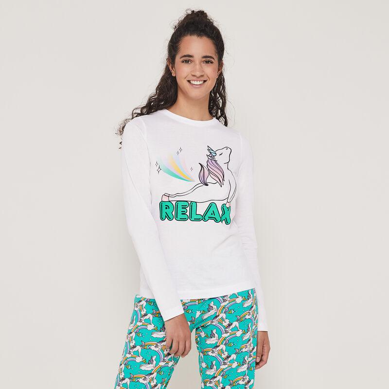 Conjunto de pijama top + pantalón estampado unicornio interlicornaxiz;