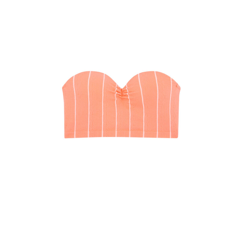 Sujetador bandeau push-up - coral;