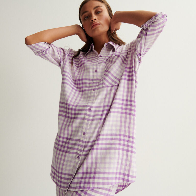 camisa oversize de cuadros - morado;