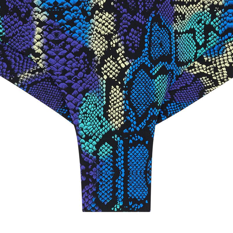 Parte de abajo de bikini de braguita brasileña con estampado de serpiente - azul;