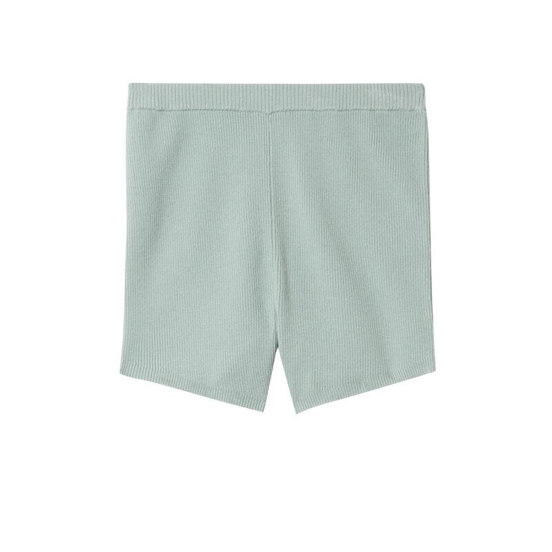 short de cintura alta de punto - verde agua;