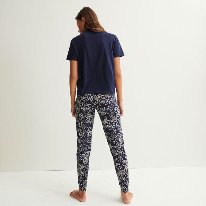 leggings con estampados stitch - azul marino;