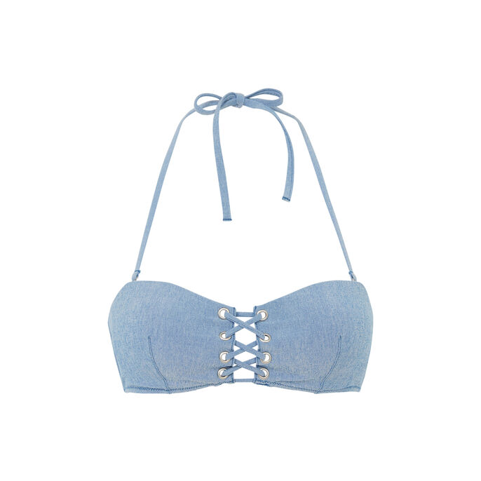 Top de bikini sin tirantes azul denimiz blue.