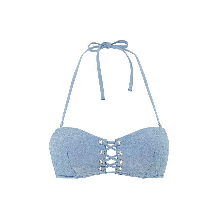 Top de bikini sin tirantes azul denimiz;