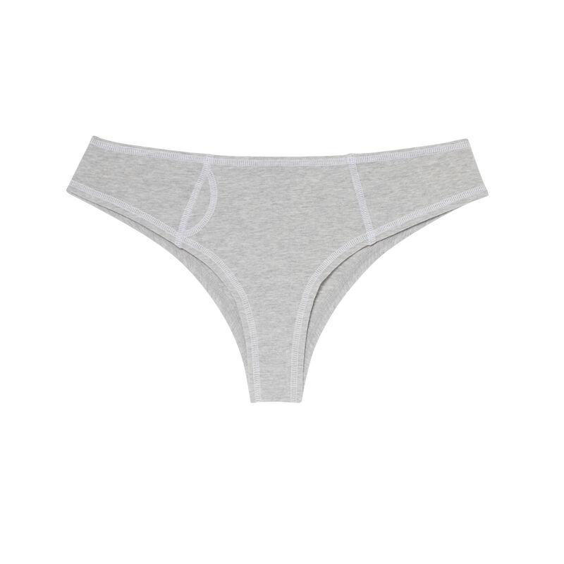 Culotte de algodón con costuras blancas visibles - gris;