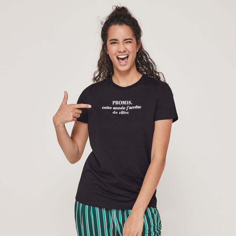 Conjunto de pijama top + pantalón con mensaje newanniz;